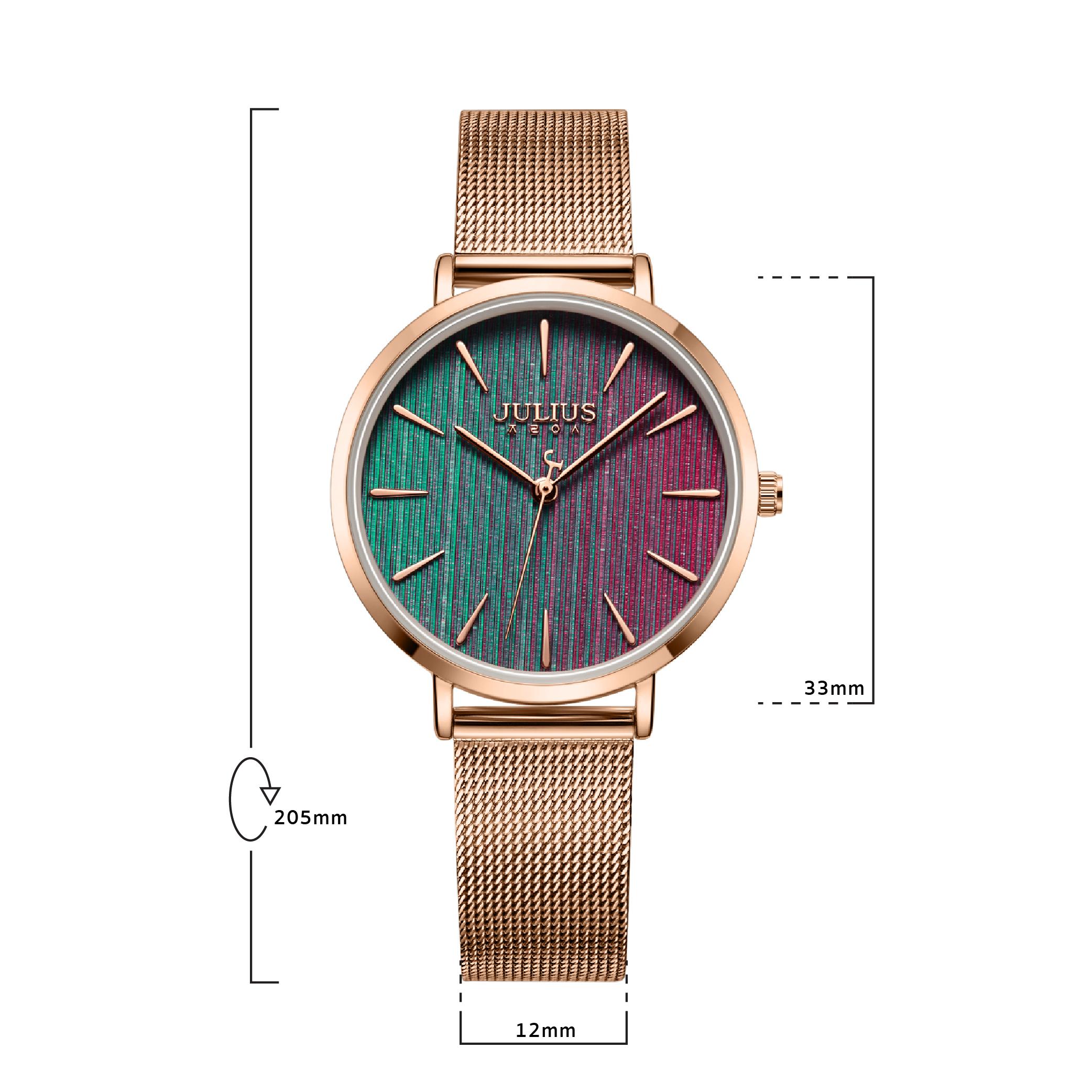 JULIUS นาฬิกาข้อมือผู้หญิง รุ่น JA-1198B หน้าปัดกลม สายสแตนเลสสีโรสโกลด์ แบรนด์เกาหลี
